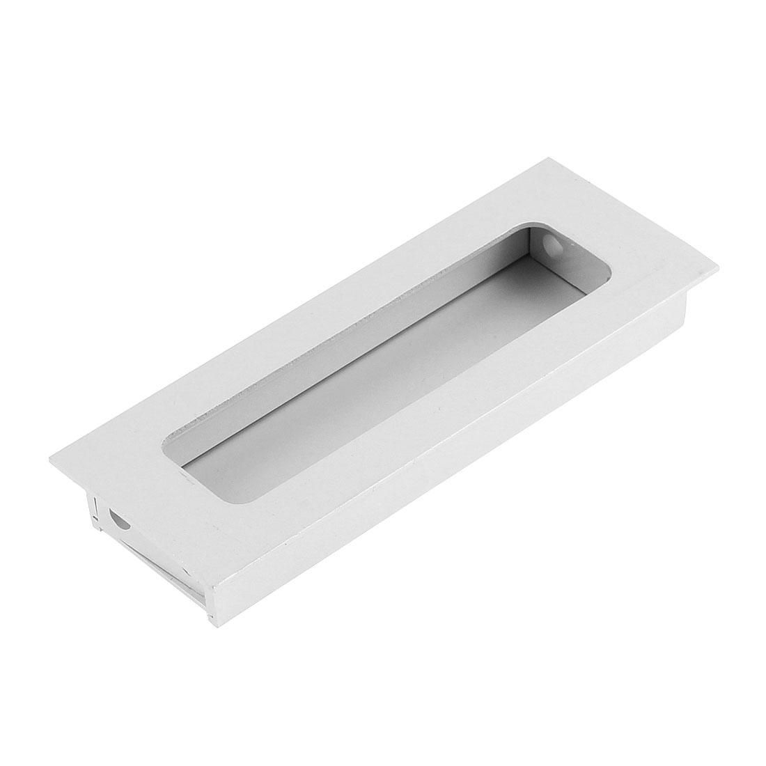 111mm x 42mm Aluminum Rectangular Furniture Cabinet Door Flush Recessed Pull Handle Grip