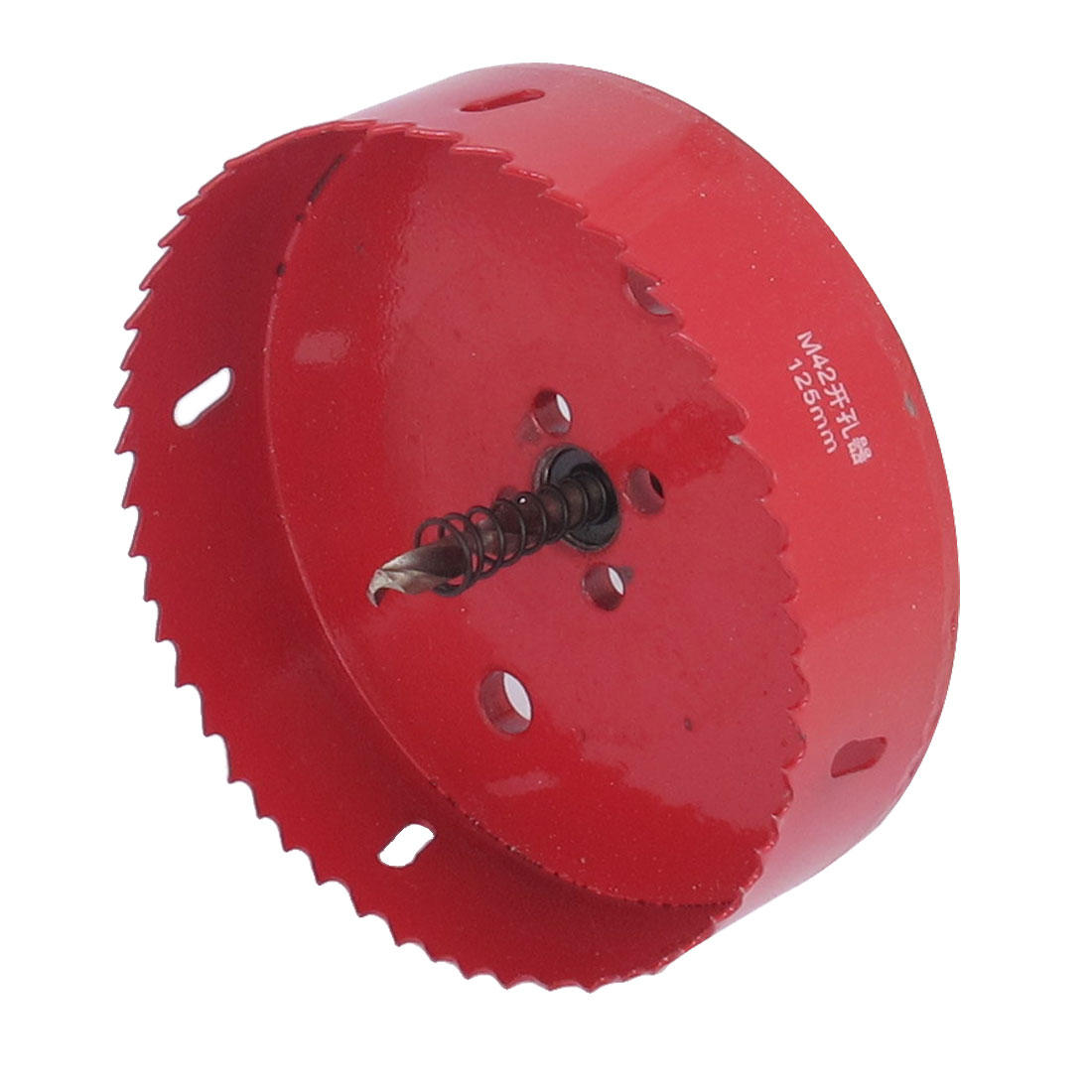 10mm Shank 125mm Cutting Dia Toothed Bi-Metal Hole Saw Cutter Drill Bit Tool Red
