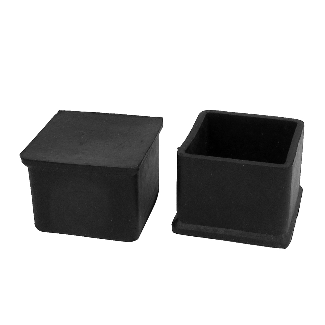 45mm x 45mm Square Rubber Furniture Leg Cap Foot Cover Holder Protective Tip 2pcs