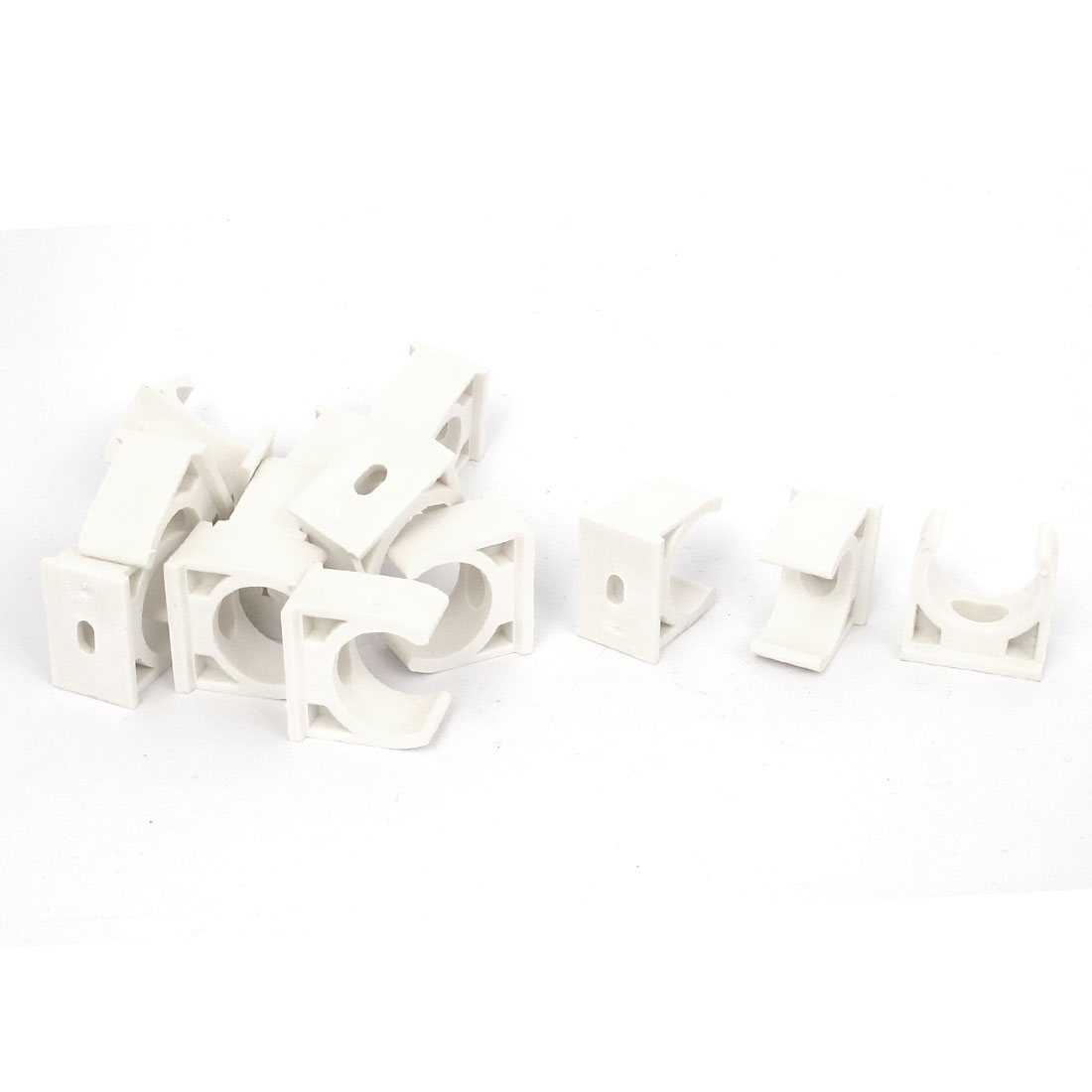 15pcs 20mm Diameter White PVC Water Supply Tube Pipe Hose Clamps Clips Fittings