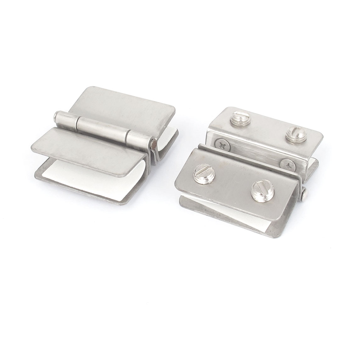 2pcs Silver Tone Metal Adjustable Screw Rectangle Shape Door Hinge Glass Clamp Clip Holder
