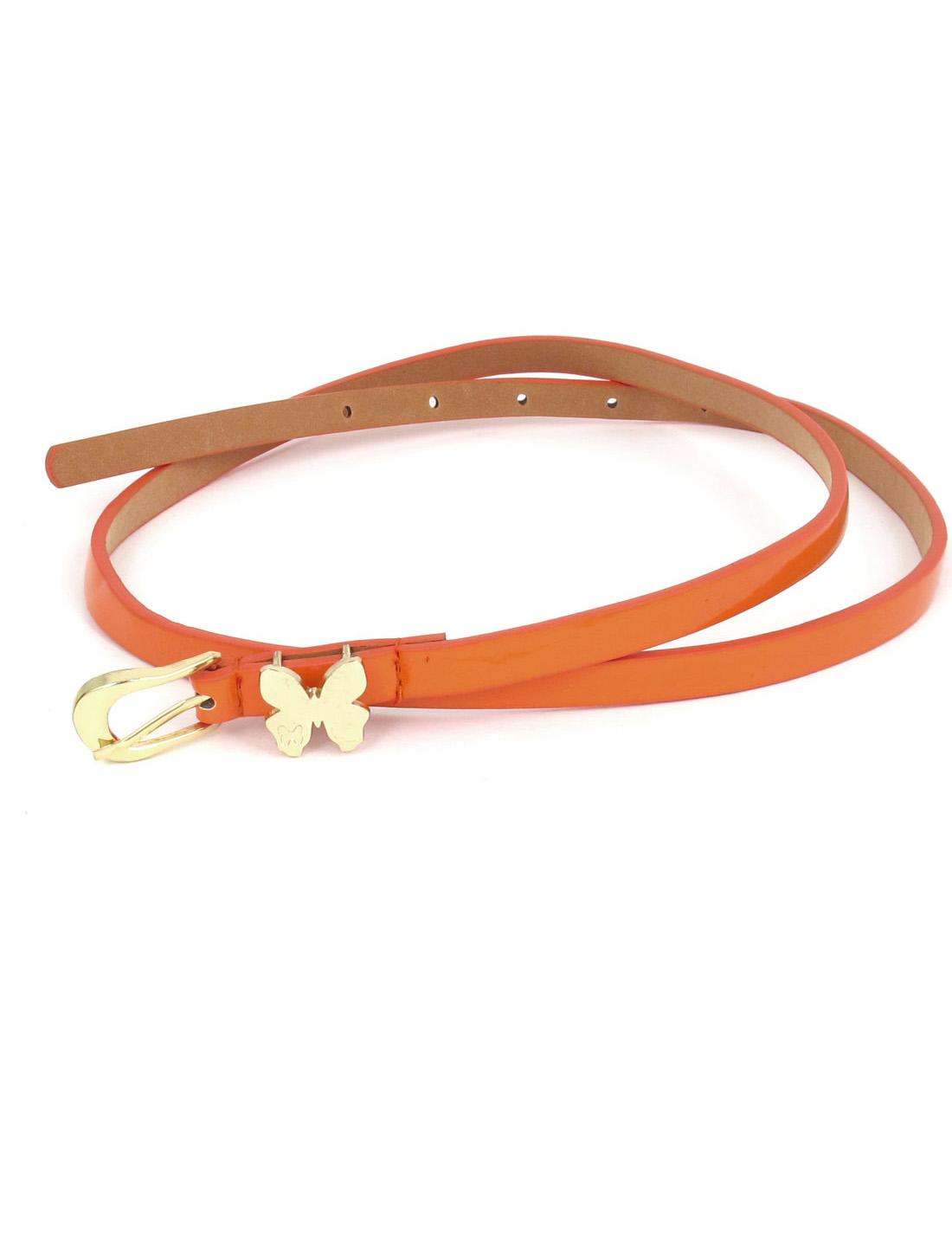 Women Butterfly Shaped Metal Single Pin Buckle Perforated Adjustable Faux Leather Waist Belt Waistbelt Orange
