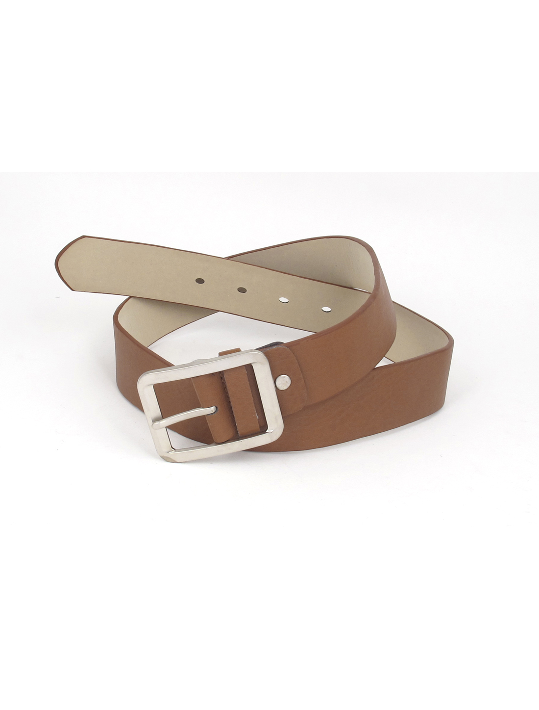 Women Metal Single Pin Buckle 5 Holes Design Adjustable Faux Leather 3.5cm Width Waist Belt Waistbelt Brown