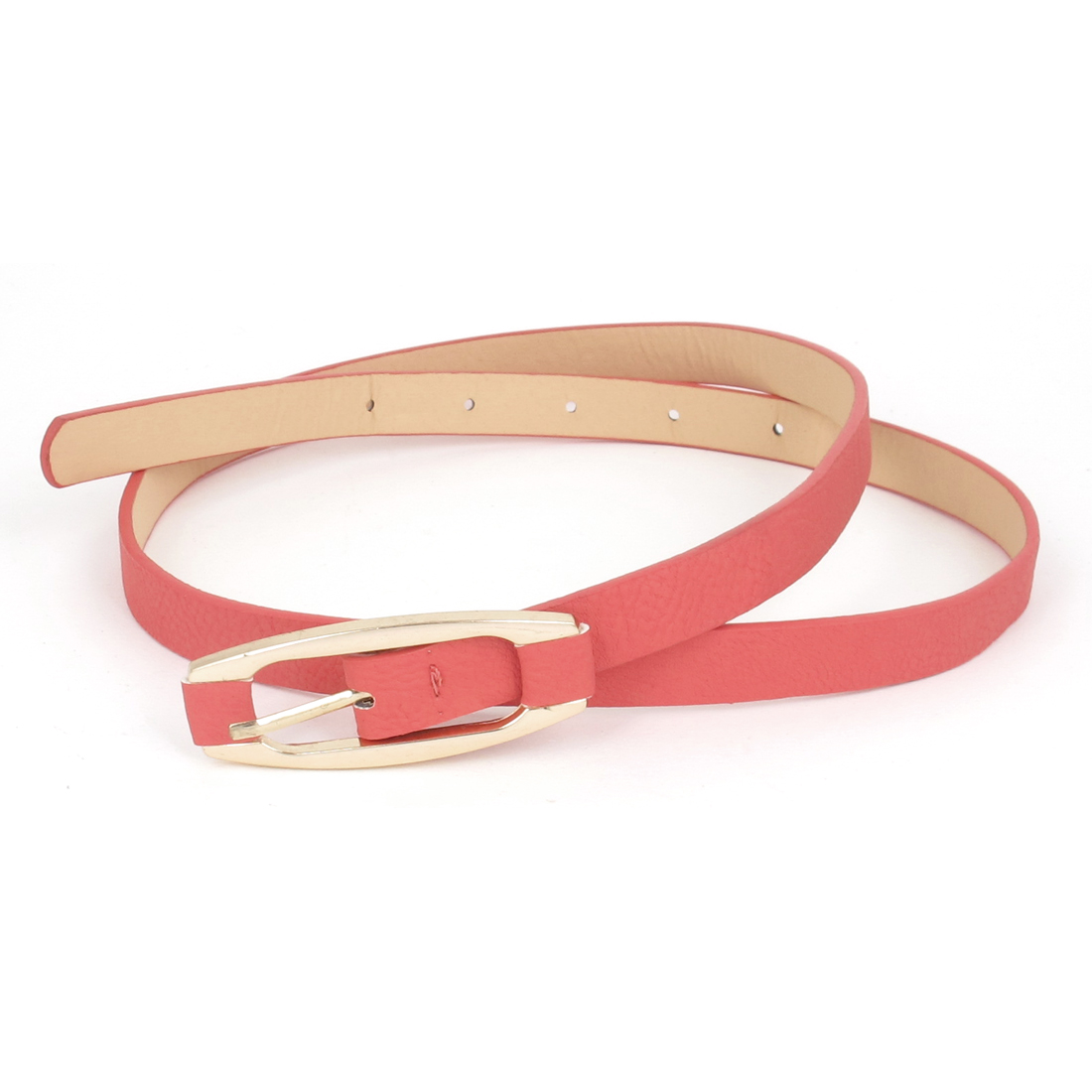 Lady Metal Single Pin Buckle 5 Holes Design Perforated Faux Leather Waist Belt Waistbelt Watermelon Red