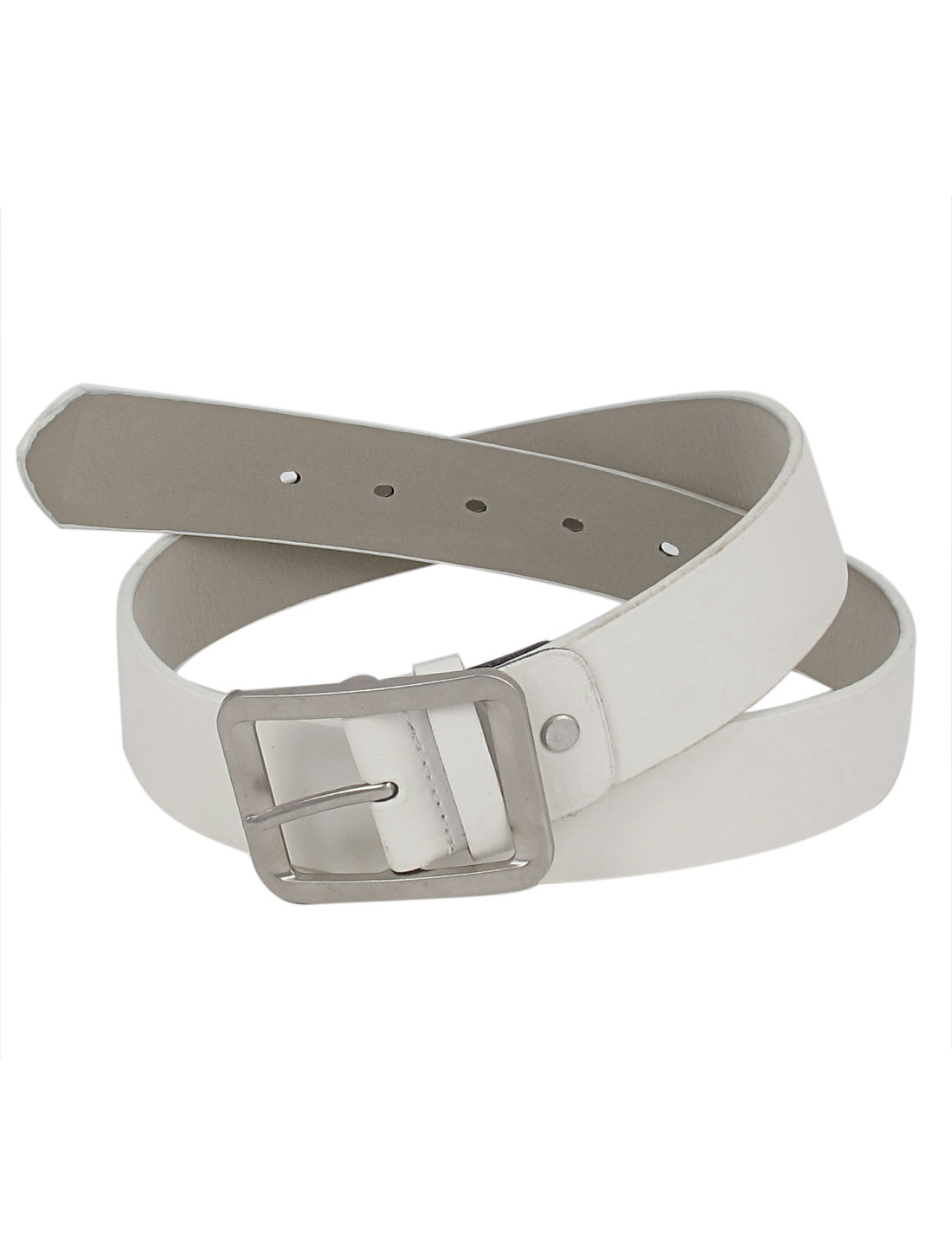 Women Metal Single Pin Buckle 5 Holes Design Adjustable Faux Leather 3.5cm Width Waist Belt Waistbelt White
