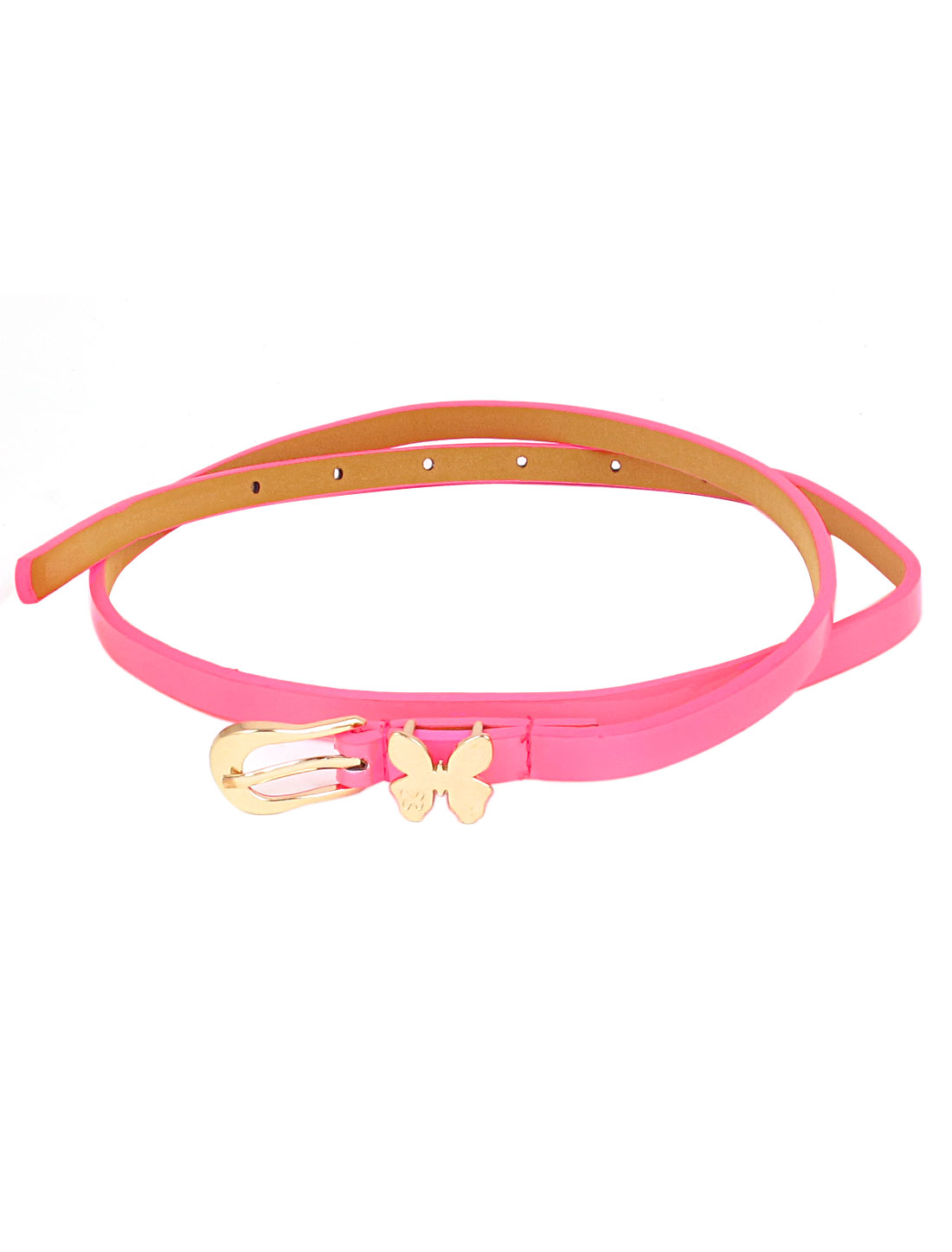 Women Butterfly Decor Metal Single Pin Buckle Perforated Adjustable Faux Leather Waist Belt Waistbelt Hot Pink