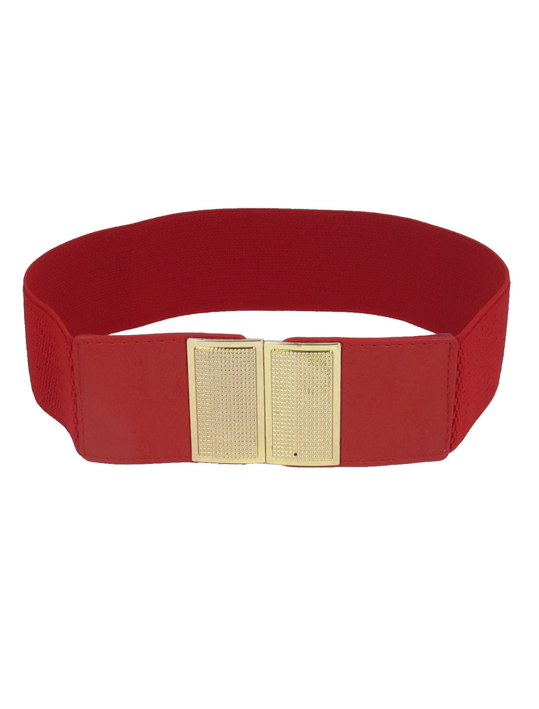 Lady Rectangle Metal Interlocking Buckle Stretchy Faux Leather Waist Belt Band Waistband Red