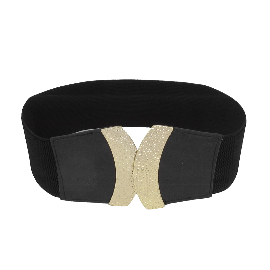 Women Metal Interlock Buckle Faux Leather Cinch 6cm Width Waist Belt Band Waistband Black