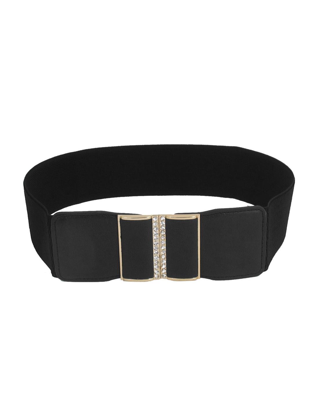 Rhinestone Inlay Interlocking Buckle Stretchy Faux Leather Waist Belt Band Waistband Black
