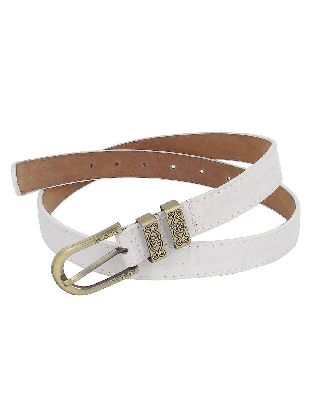 Flower Carved Metal Single Pin Buckle Faux Leather Perforated 5 Holes Adjustable 2.5cm Width Waist Belt White