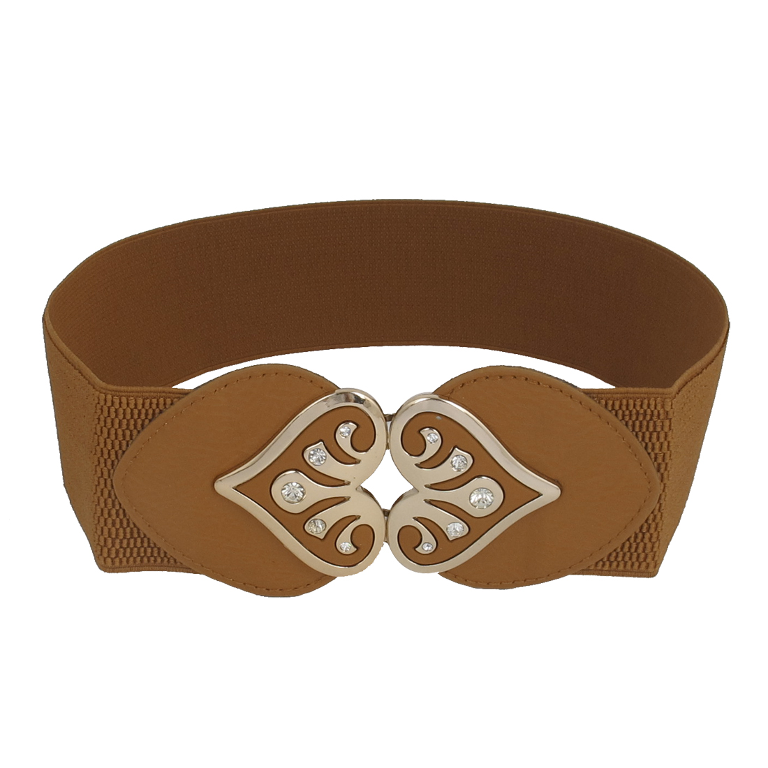 Lady Dual Heart Style Interlock Buckle Stretch Faux Leather Waist Belt Band Waistband Brown
