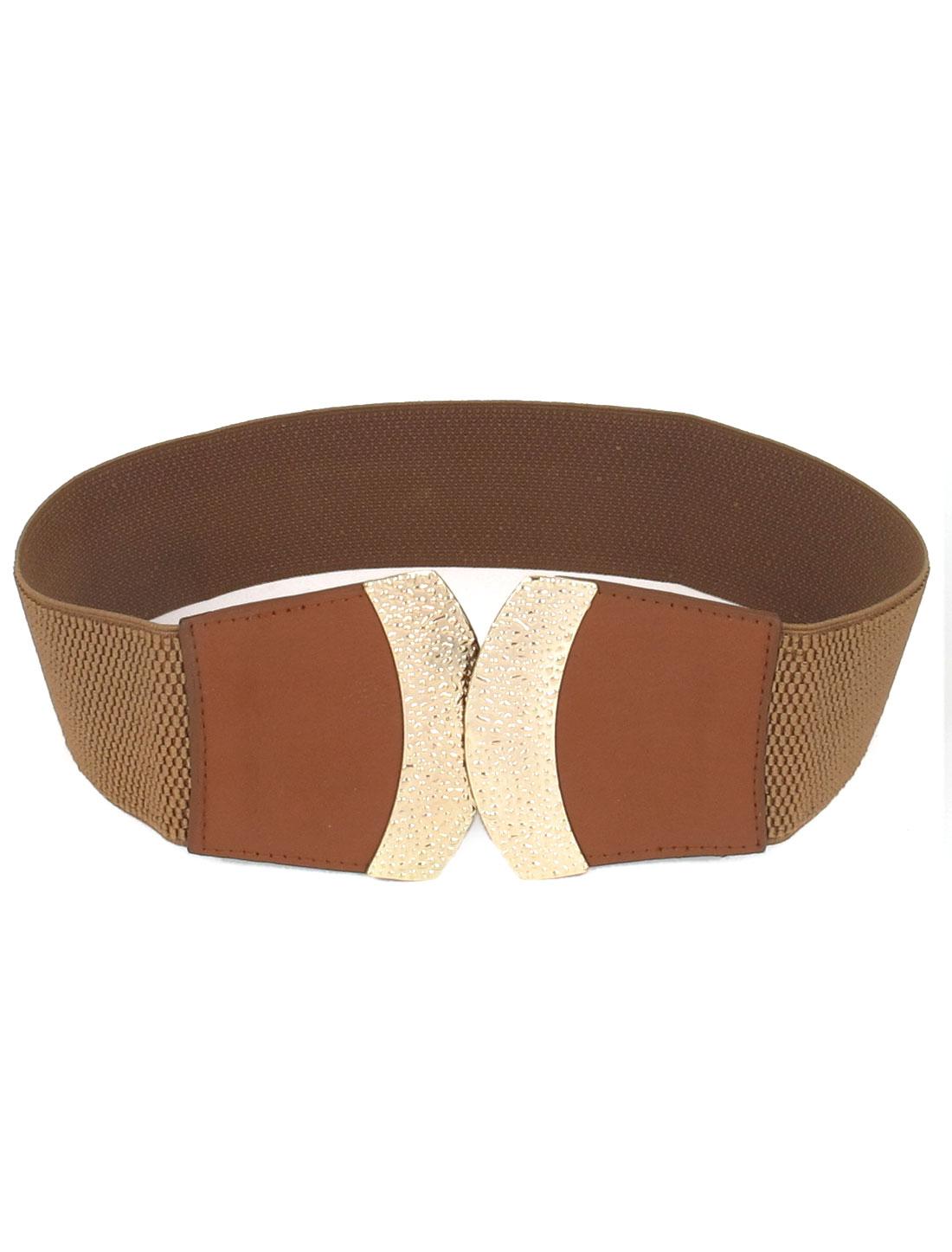Women Metal Interlocking Buckle Faux Leather Cinch 6cm Width Waist Belt Band Waistband Brown