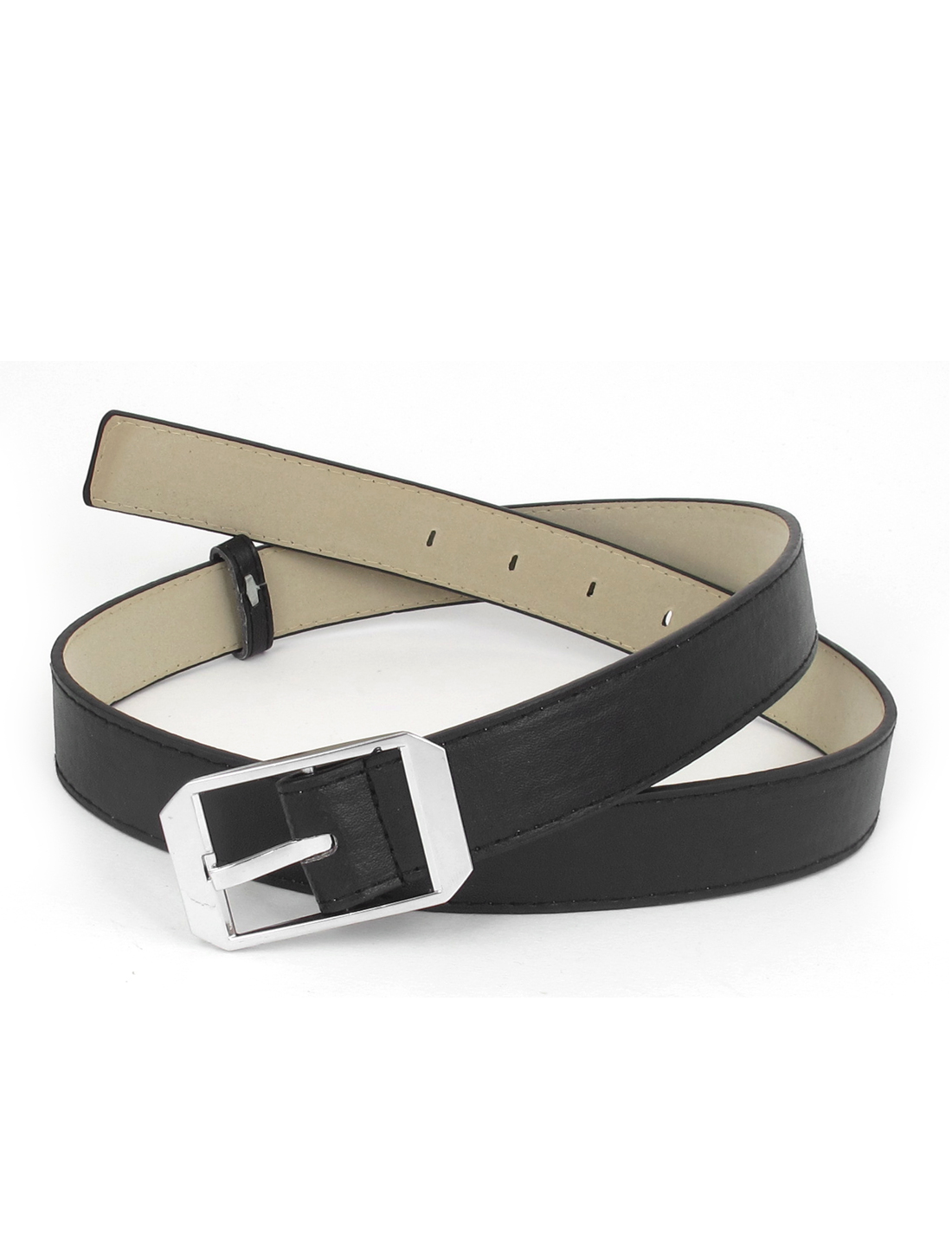 Lady Metal Single Pin Buckle 5 Holes Design Adjustable Faux Leather Waist Belt Waistbelt Black