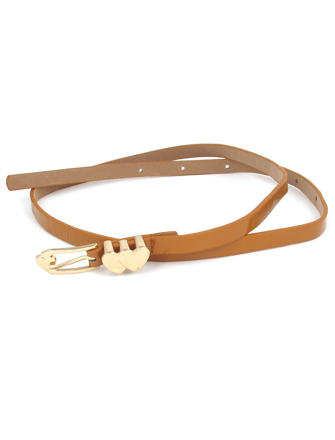 Women Double Heart Shaped Metal Single Pin Buckle Perforated Adjustable Faux Leather Waist Belt Waistbelt Brown