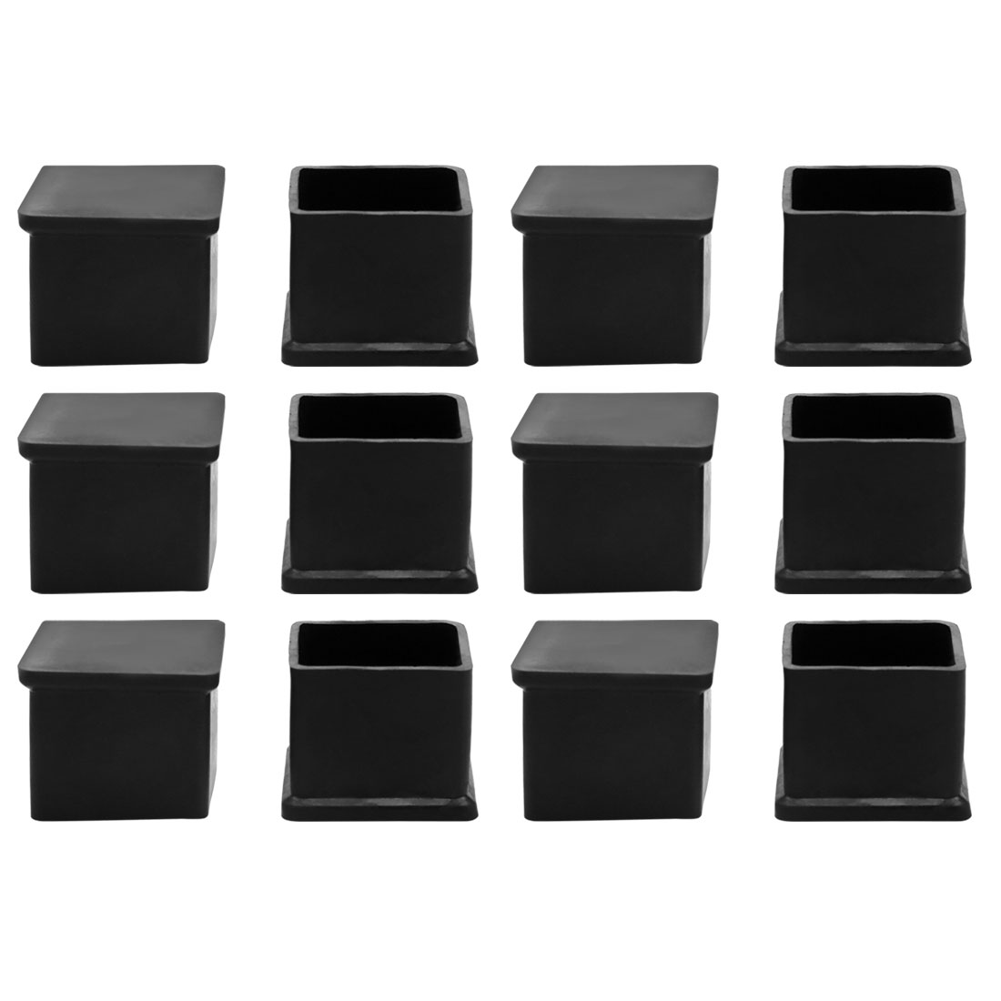 12 Pcs Square Rubber Furniture Table Foot Leg Cover Pad Floor Protector 25mm x 25mm