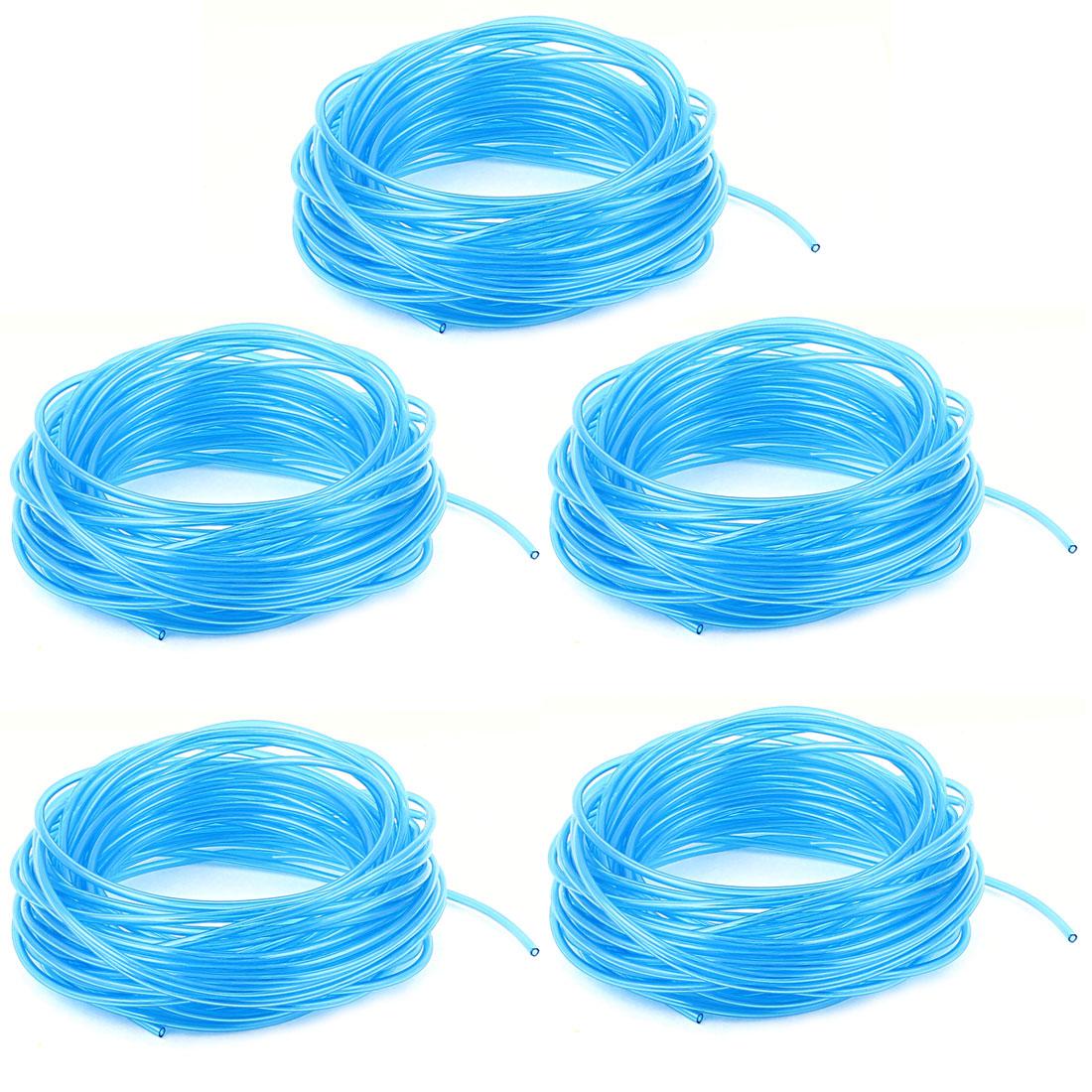 5 Pcs 4mm x 2.5mm Fuel Gas Air Polyurethane PU Tubing Hose Pipe 20M Clear Blue