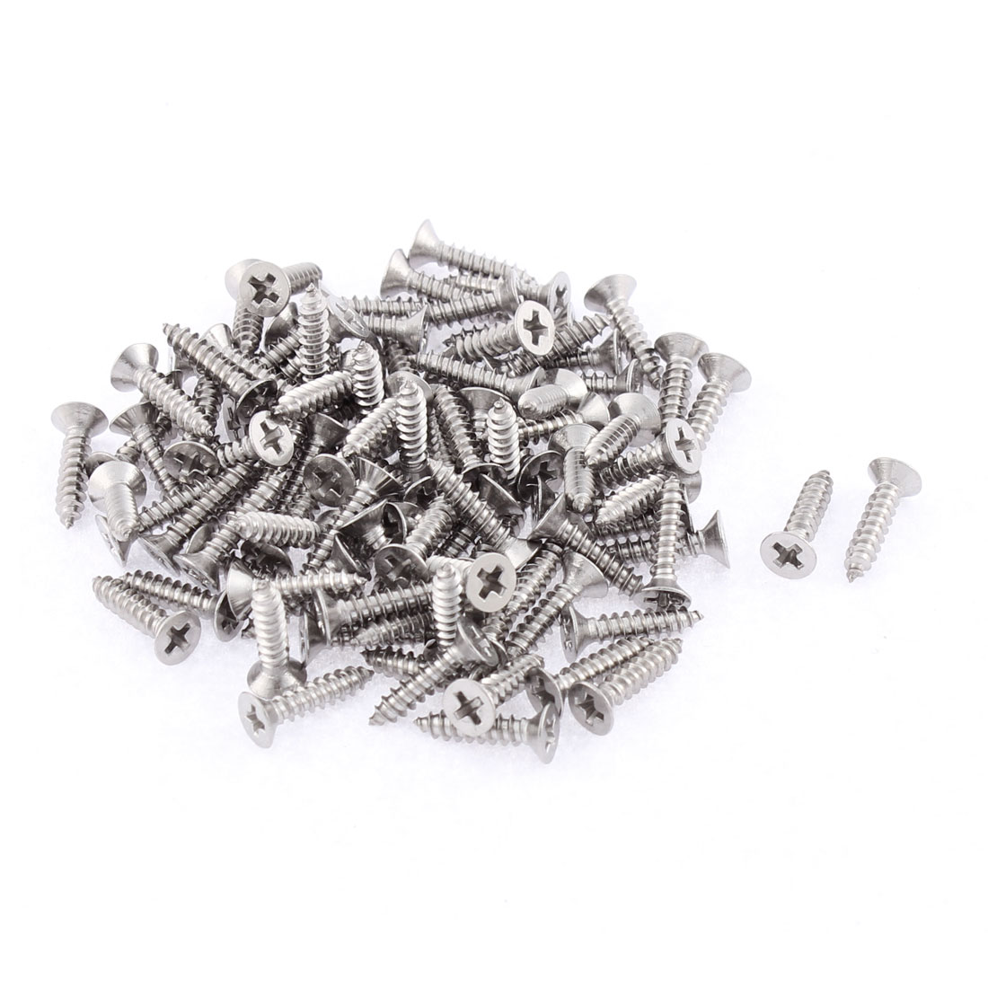 100 Pcs 2.9mmx13mm Stainless Steel Phillips Flat Head Sheet Self Tapping Screws