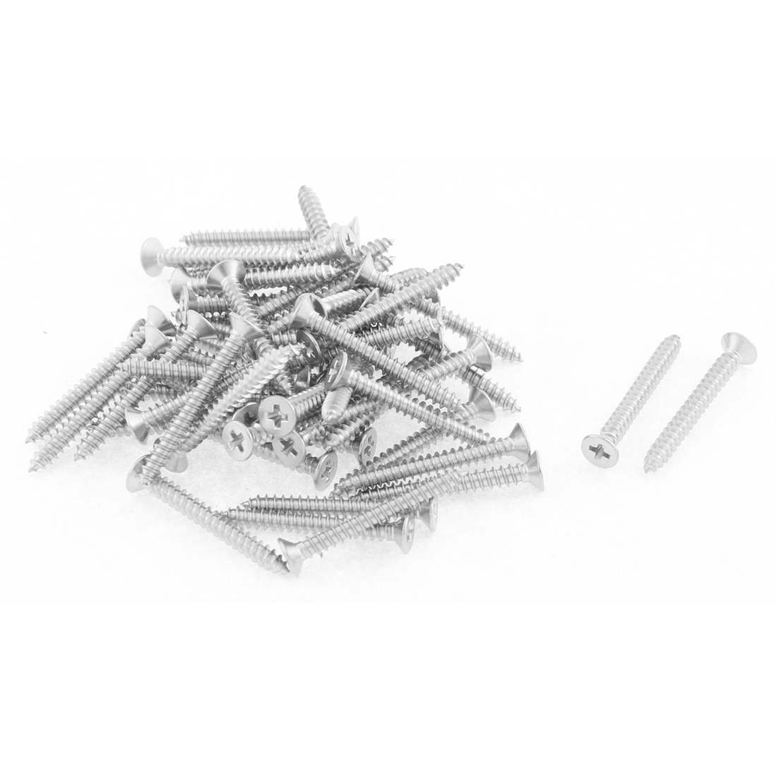 50 Pcs 2.9mmx25mm Stainless Steel Phillips Flat Head Sheet Self Tapping Screws