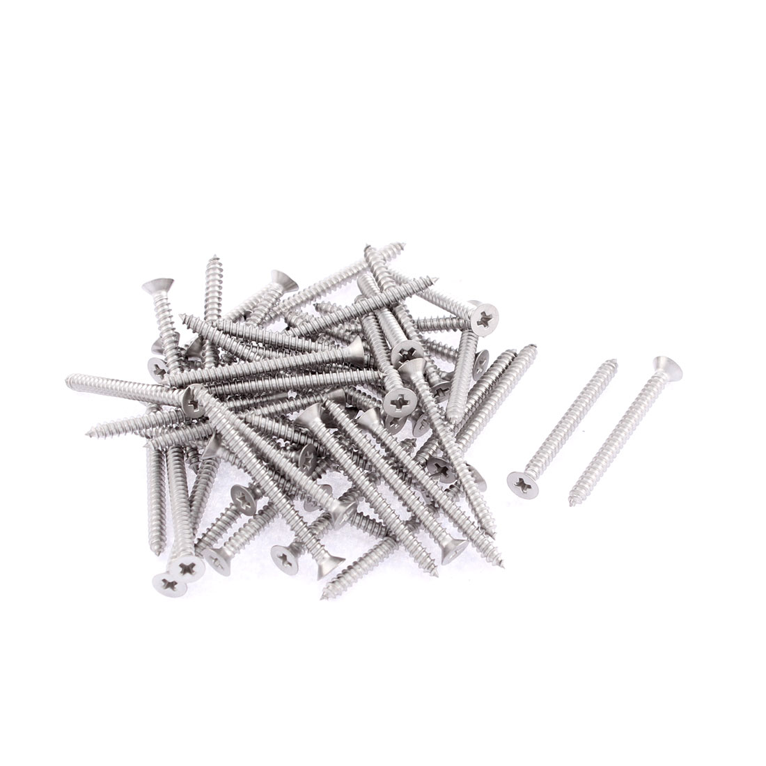 50 Pcs 2.9mmx32mm Stainless Steel Phillips Flat Head Sheet Self Tapping Screws