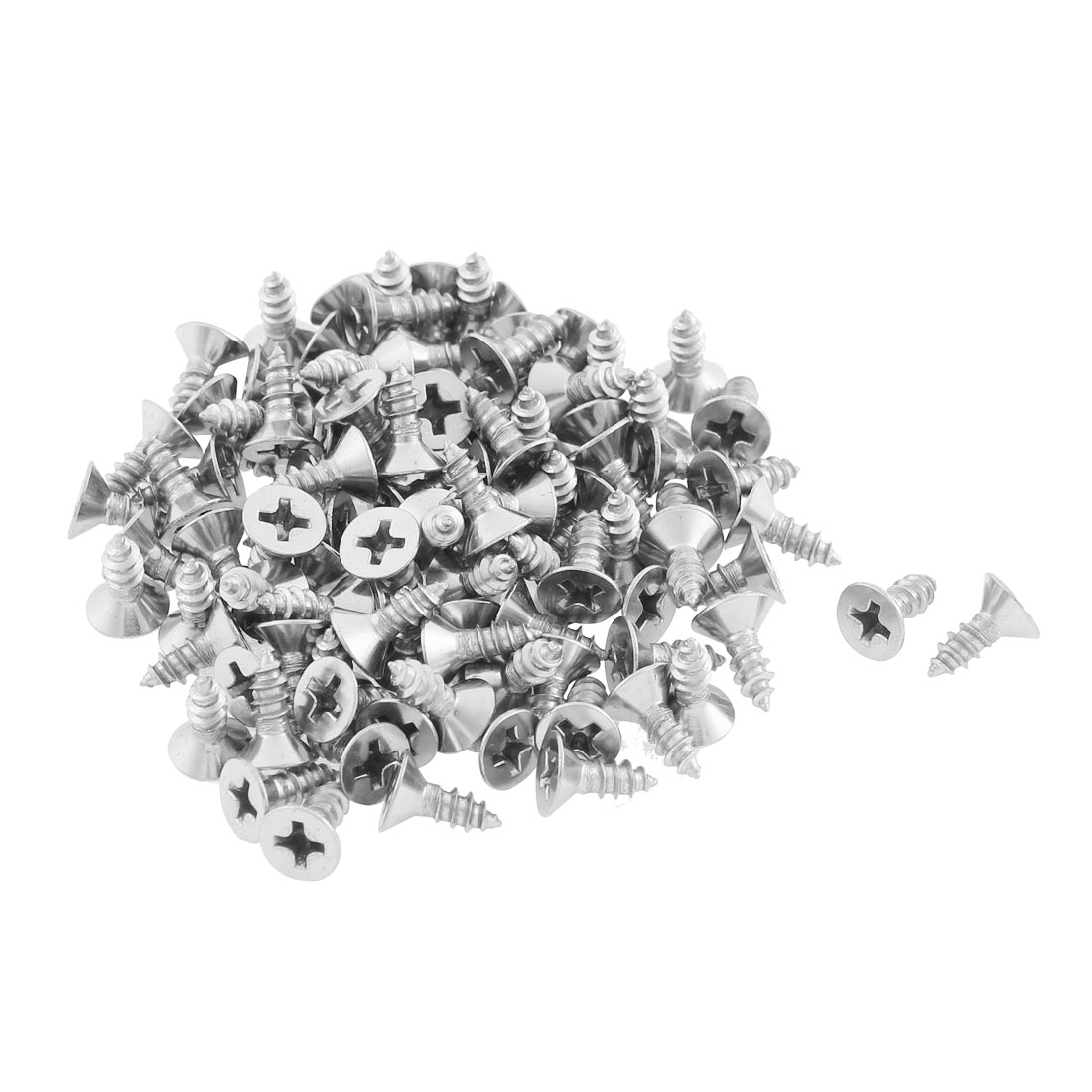 100 Pcs 3.5mmx9.5mm Stainless Steel Phillips Flat Head Sheet Self Tapping Screws