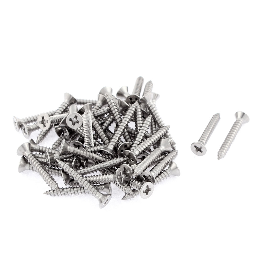 50 Pcs 3.5mmx25mm Stainless Steel Phillips Flat Head Sheet Self Tapping Screws