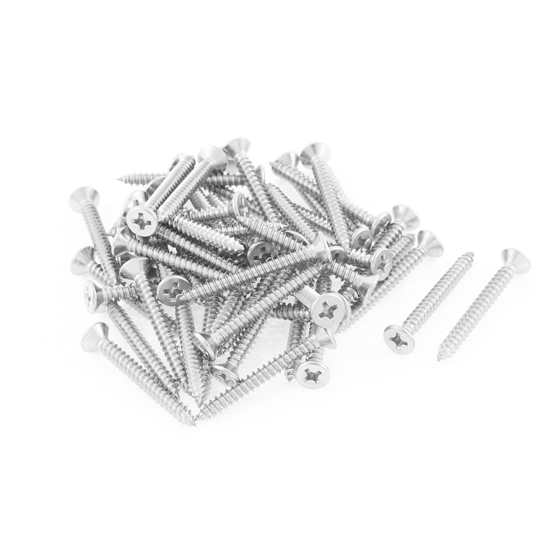50 Pcs 3.5mmx32mm Stainless Steel Phillips Flat Head Sheet Self Tapping Screws