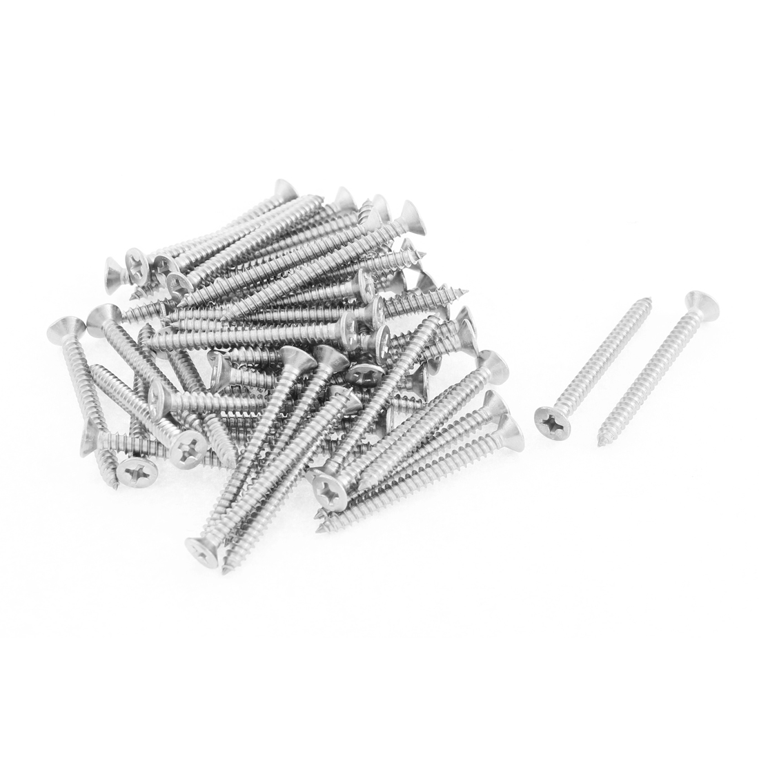 50 Pcs 3.5mmx38mm Stainless Steel Phillips Flat Head Sheet Self Tapping Screws