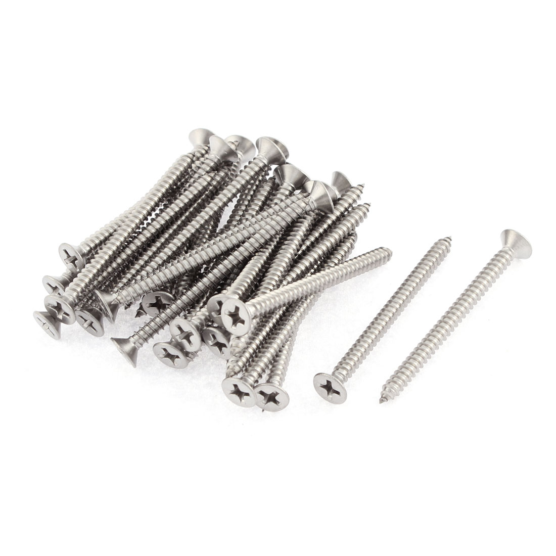 30 Pcs 3.5mmx45mm Stainless Steel Phillips Flat Head Sheet Self Tapping Screws