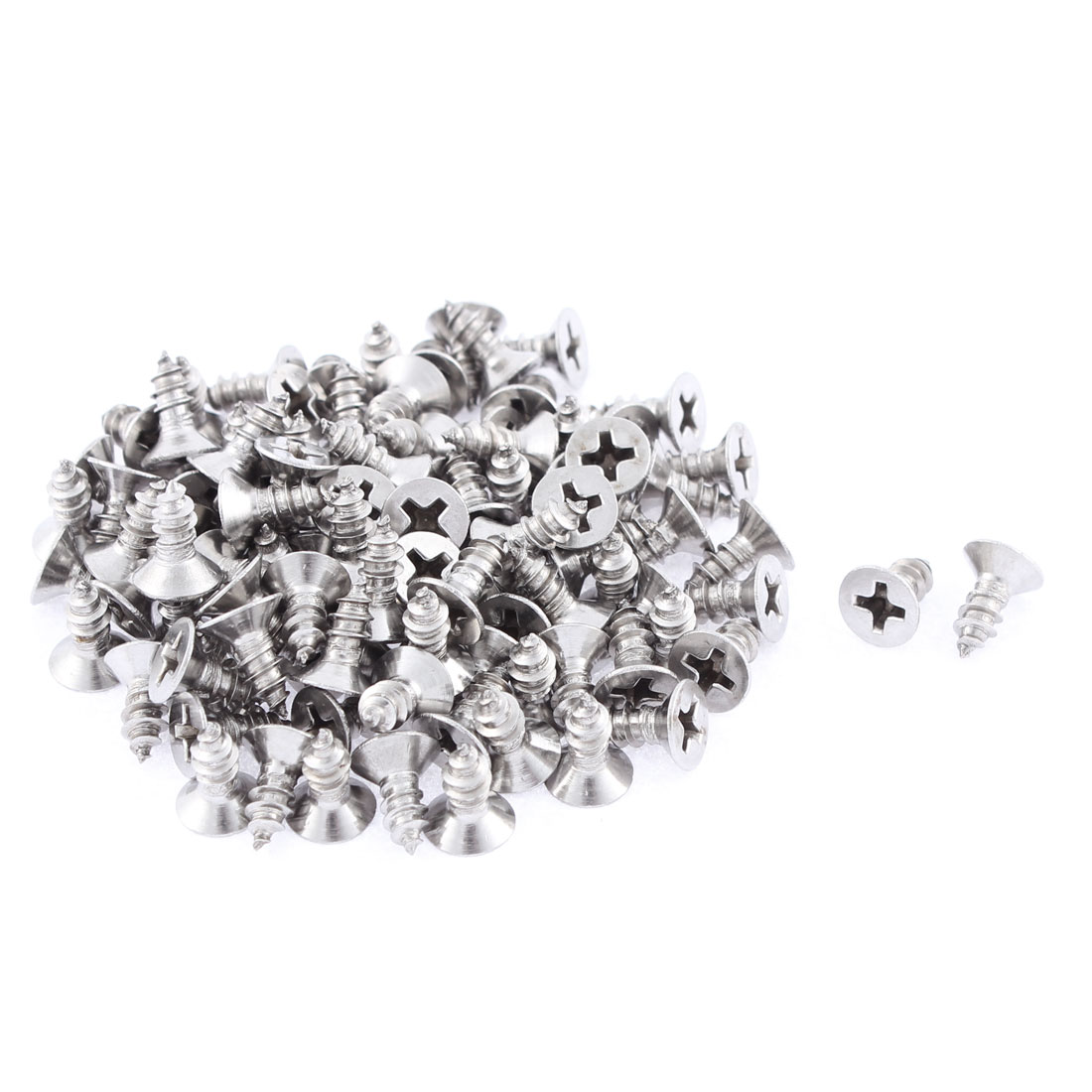 100 Pcs 3.9mmx9.5mm Stainless Steel Phillips Flat Head Sheet Self Tapping Screws