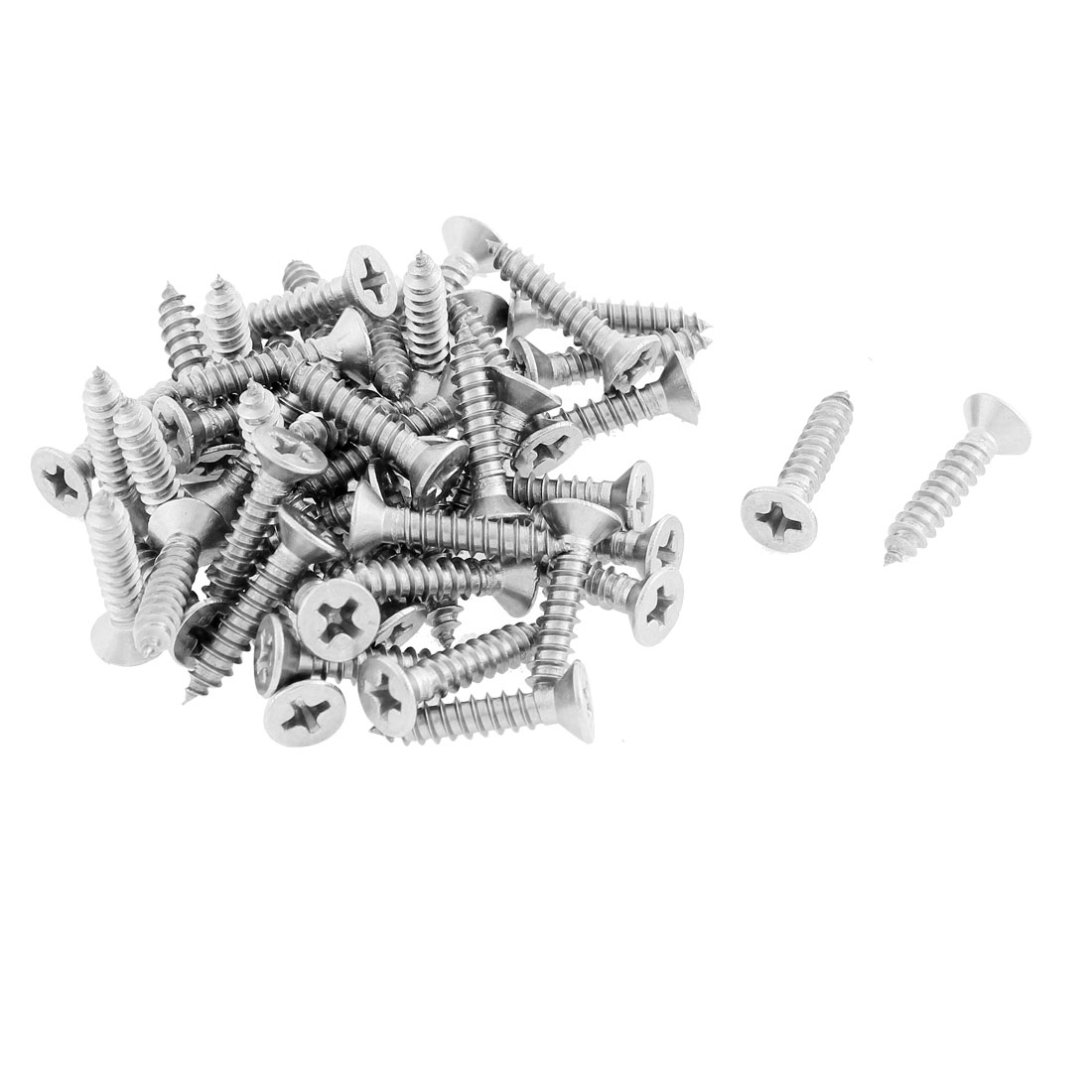 50 Pcs 3.9mmx19mm Stainless Steel Phillips Flat Head Sheet Self Tapping Screws