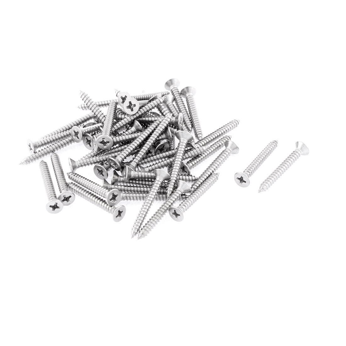 50 Pcs 3.9mmx32mm Stainless Steel Phillips Flat Head Sheet Self Tapping Screws