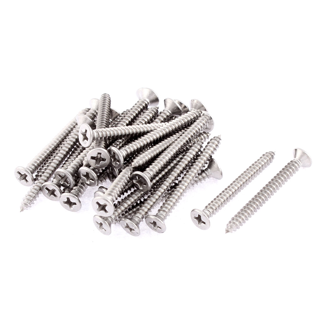 30 Pcs 3.9mmx38mm Stainless Steel Phillips Flat Head Sheet Self Tapping Screws