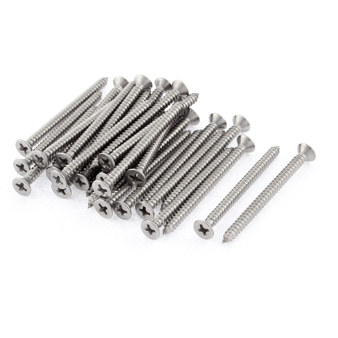 30 Pcs 3.9mmx50mm Stainless Steel Phillips Flat Head Sheet Self Tapping Screws