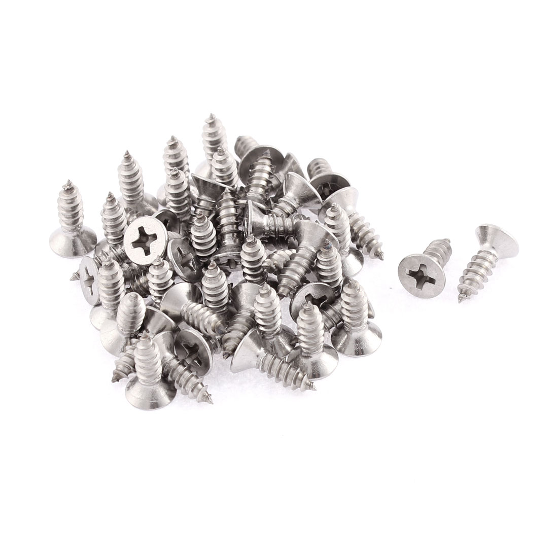 50 Pcs 4.2mmx13mm Stainless Steel Phillips Flat Head Sheet Self Tapping Screws