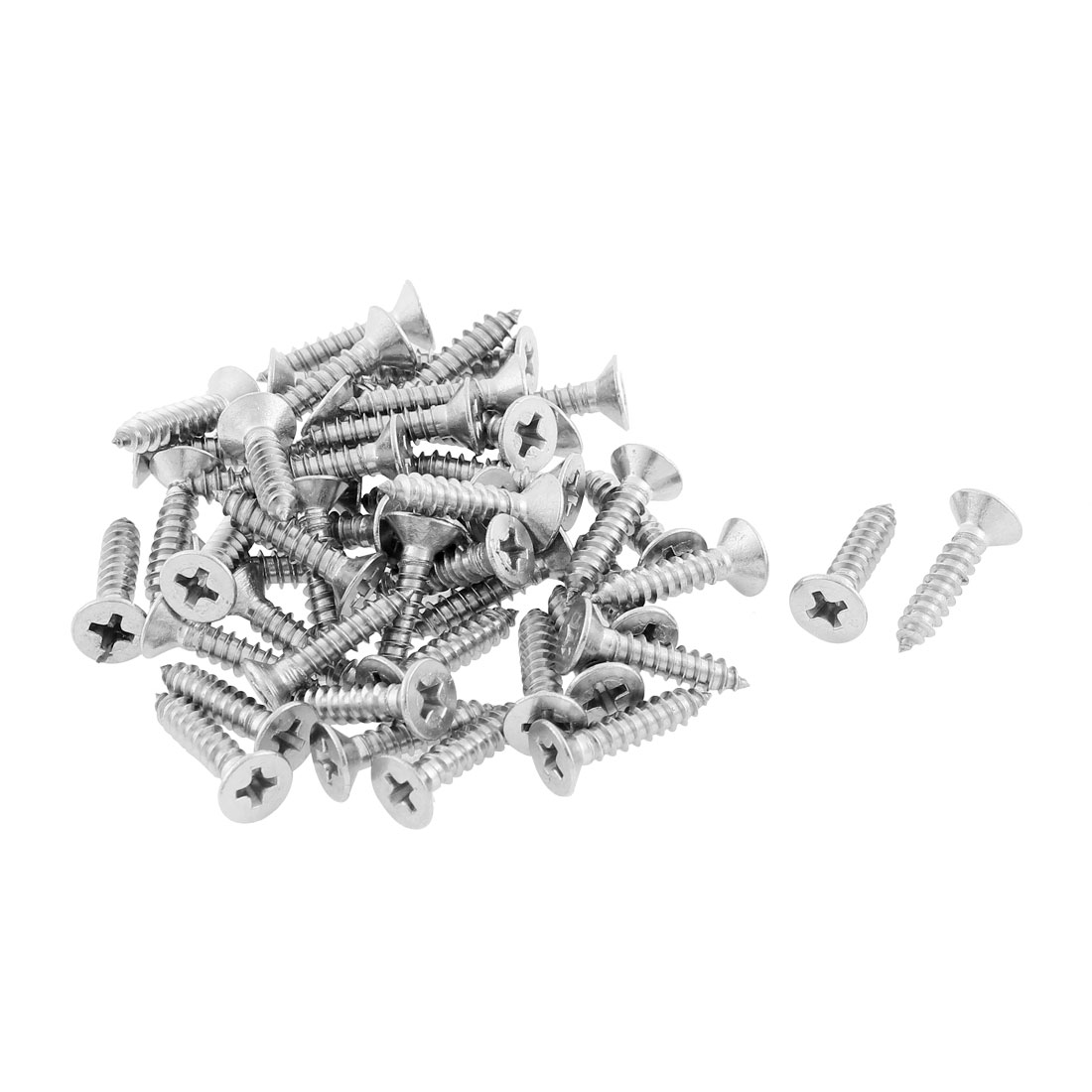 50 Pcs 4.2mmx19mm Stainless Steel Phillips Flat Head Sheet Self Tapping Screws