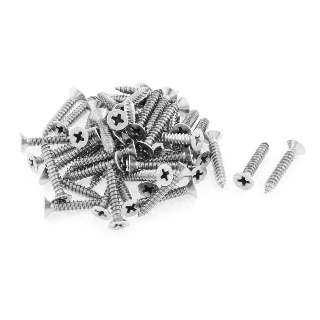 50 Pcs 4.2mmx25mm Stainless Steel Phillips Flat Head Sheet Self Tapping Screws