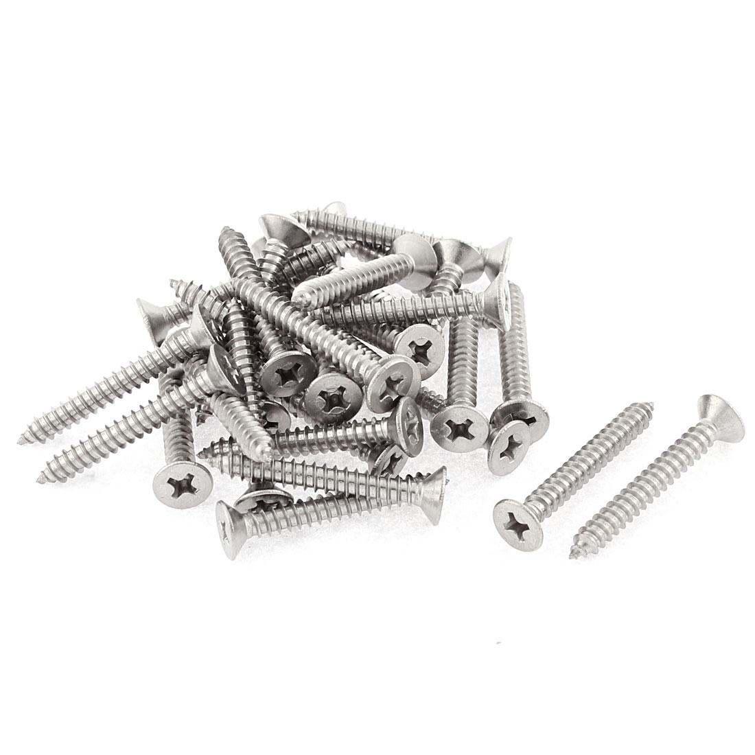 30 Pcs 4.2mmx32mm Stainless Steel Phillips Flat Head Sheet Self Tapping Screws