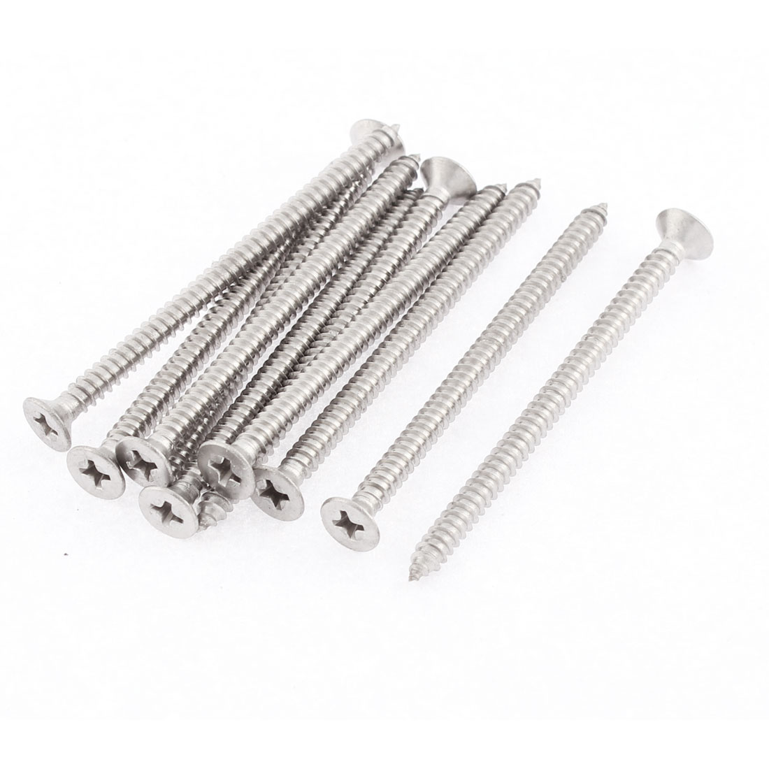 10 Pcs 4.2mmx65mm Stainless Steel Phillips Flat Head Sheet Self Tapping Screws