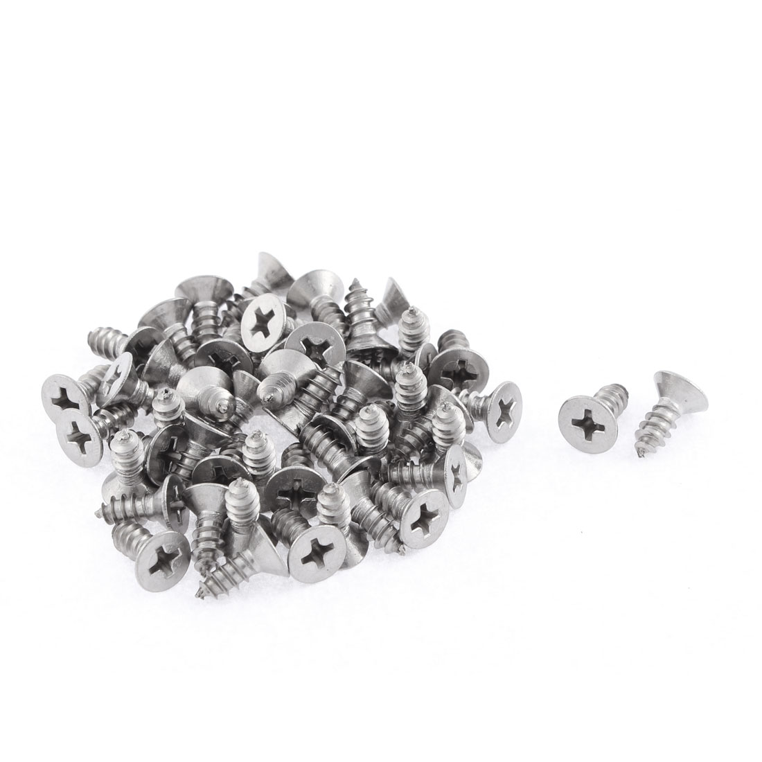 50 Pcs 4.8mmx13mm Stainless Steel Phillips Flat Head Sheet Self Tapping Screws