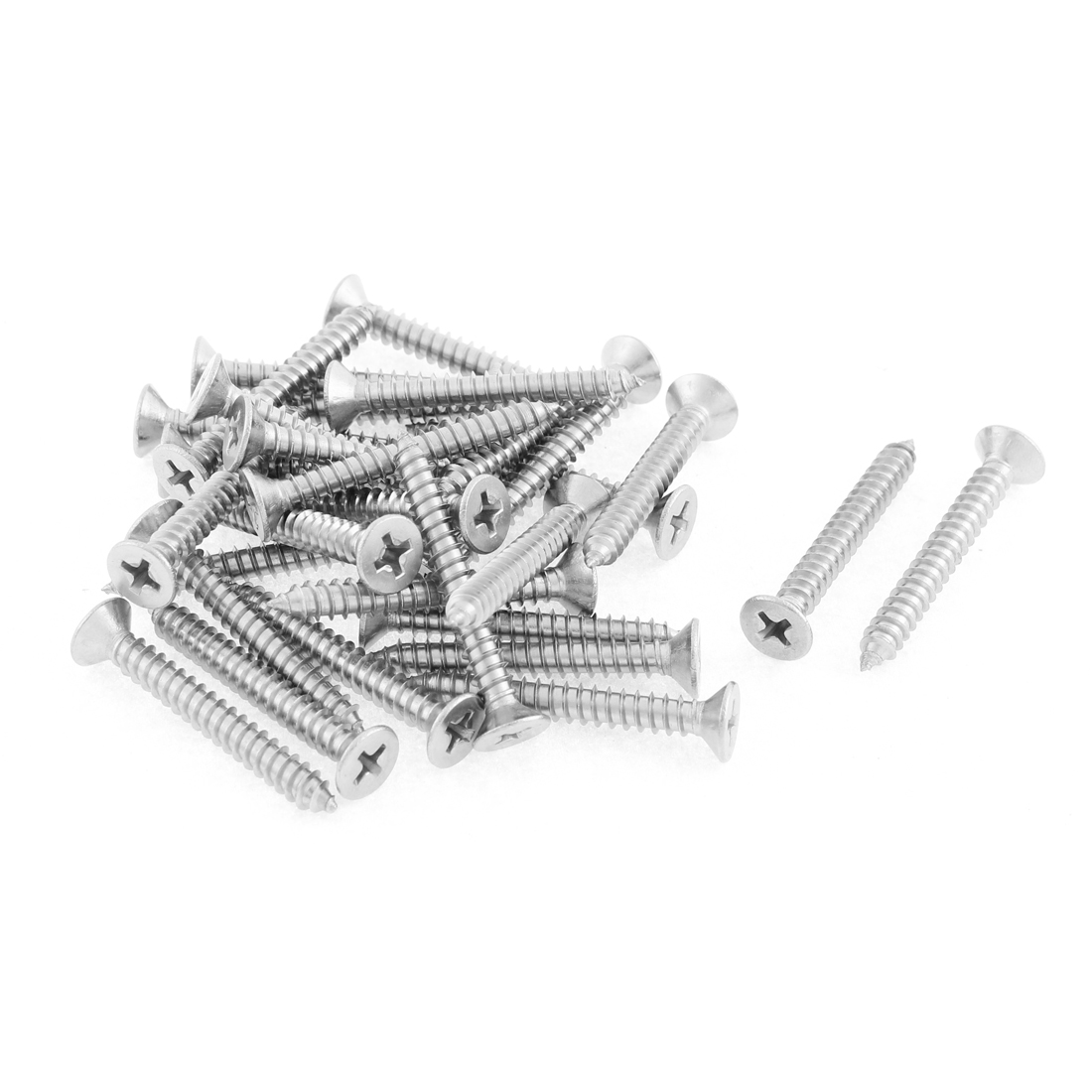 30 Pcs 4.8mmx38mm Stainless Steel Phillips Flat Head Sheet Self Tapping Screws