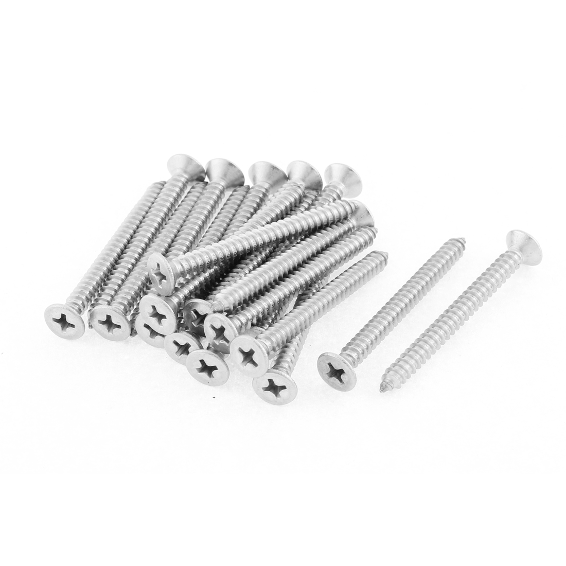 20 Pcs 4.8mmx50mm Stainless Steel Phillips Flat Head Sheet Self Tapping Screws