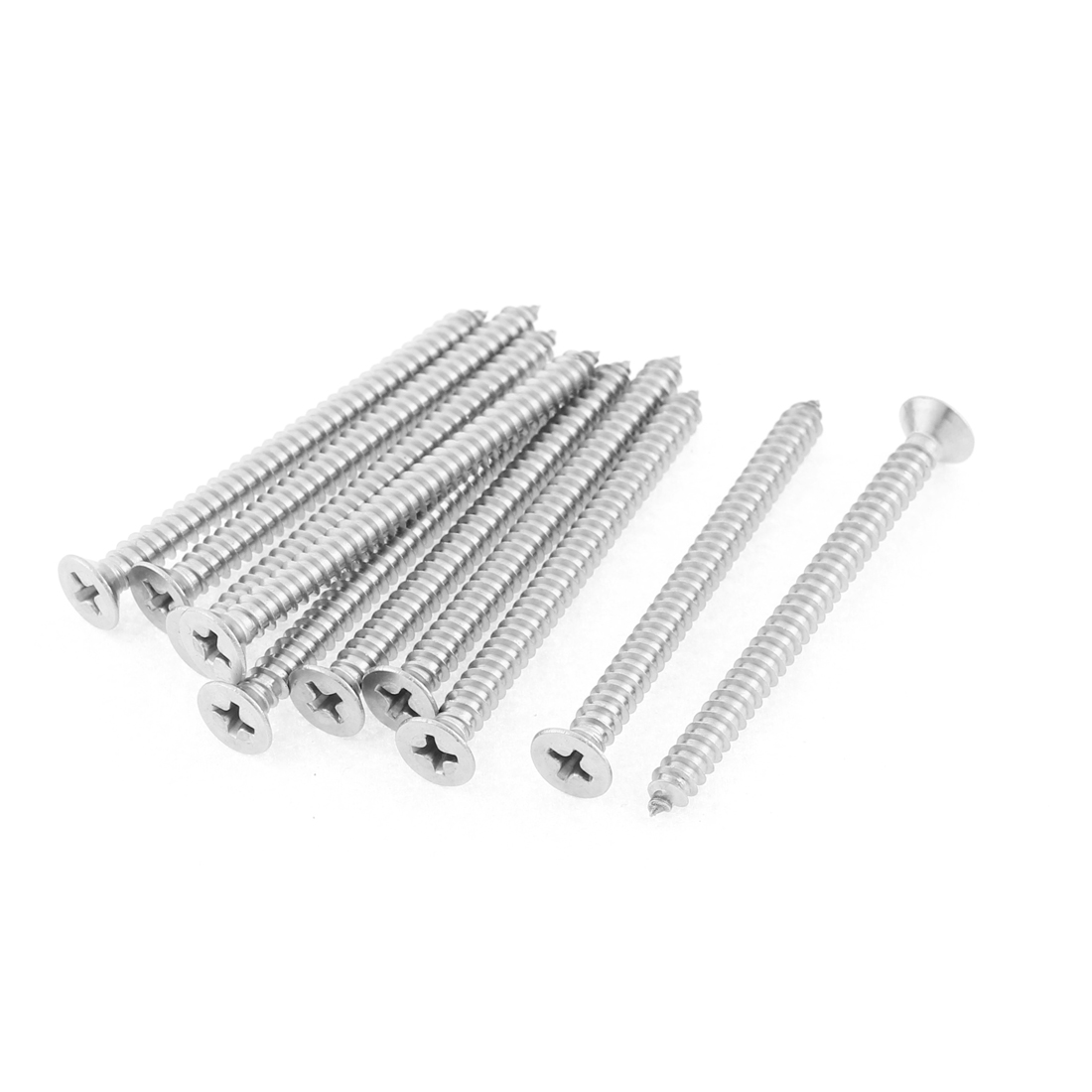10 Pcs 4.8mm60mm Stainless Steel Phillips Flat Head Sheet Self Tapping Screws