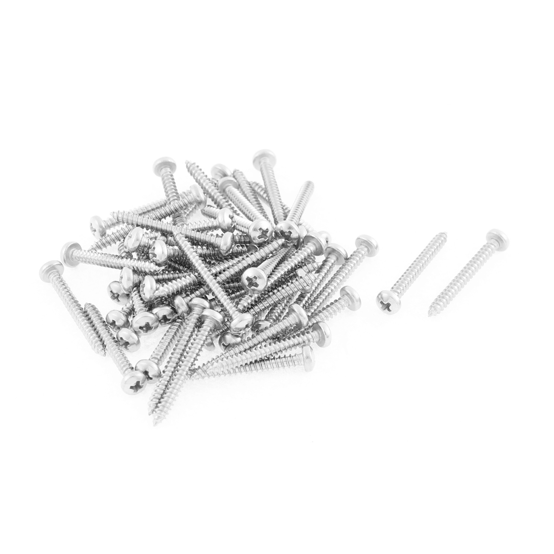 50 Pcs 2.9mmx25mm Stainless Steel Phillips Round Head Sheet Self Tapping Screws
