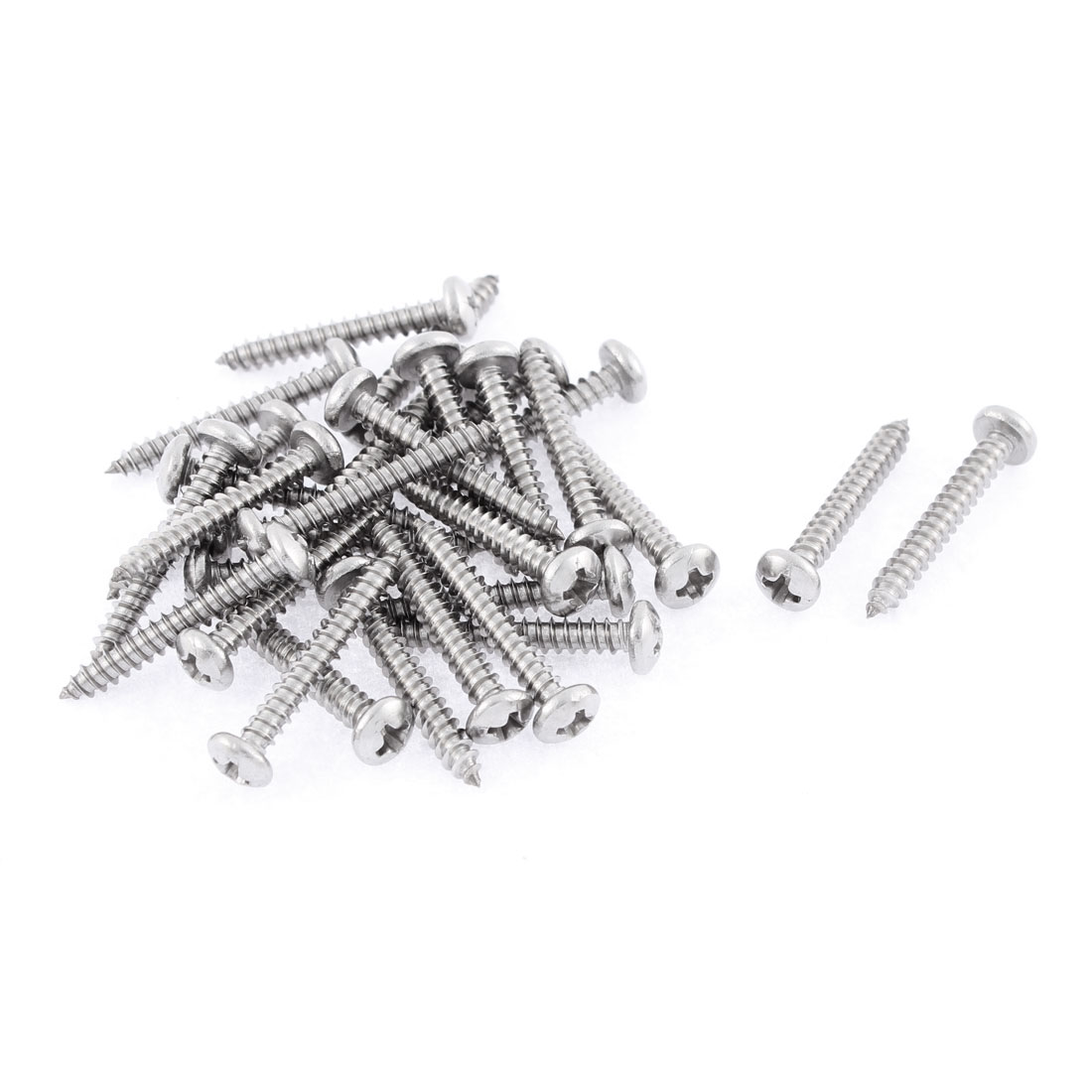 30 Pcs 3.5mmx25mm Stainless Steel Phillips Round Head Sheet Self Tapping Screws