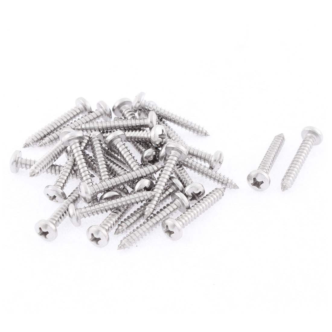 30 Pcs 3.9mmx25mm Stainless Steel Phillips Round Head Sheet Self Tapping Screws