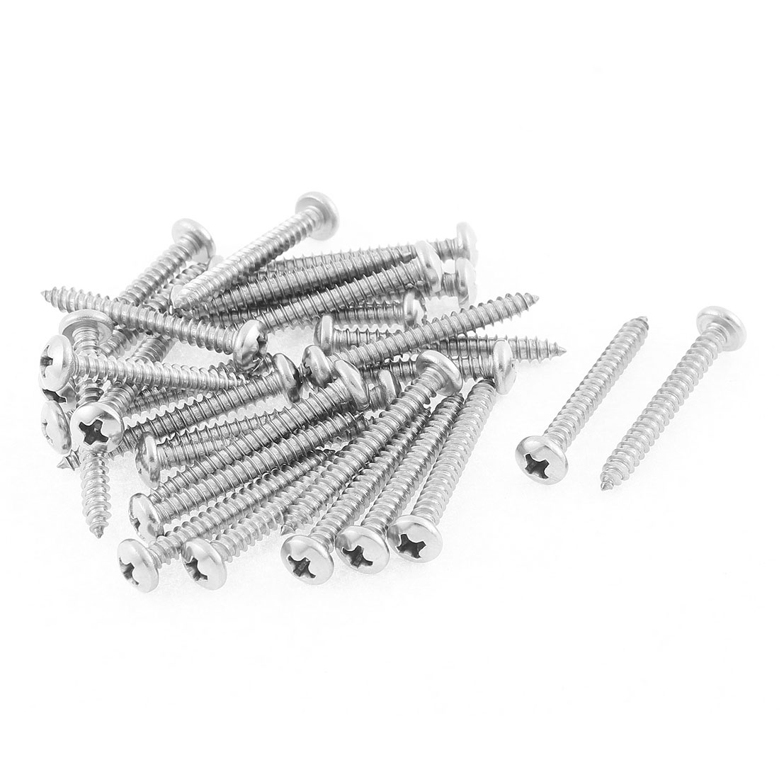 30 Pcs 3.9mmx32mm Stainless Steel Phillips Round Head Sheet Self Tapping Screws