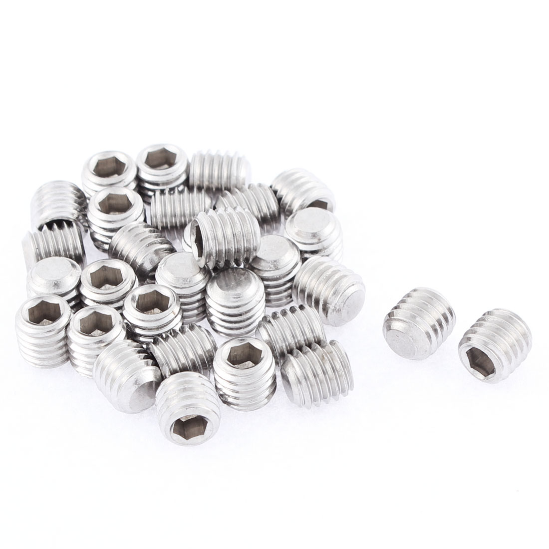 M8x8mm 1.25mm Pitch Stainless Steel Hex Socket Set Flat Point Grub Screws 30pcs