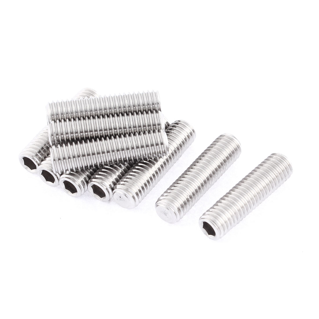 M8x30mm 1.25mm Pitch Stainless Steel Hex Socket Set Flat Point Grub Screws 10pcs