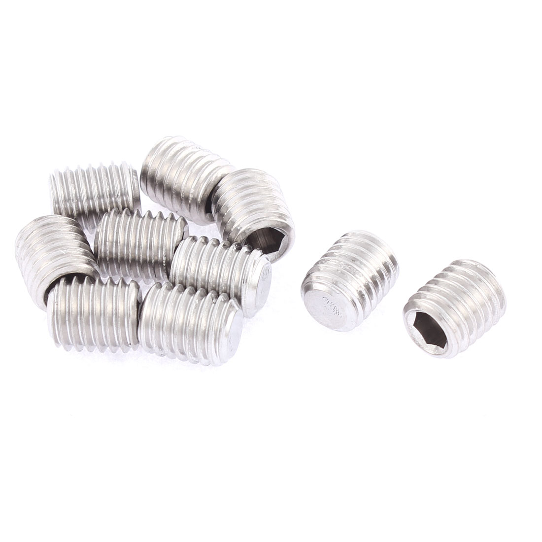 M10x12mm 1.5mm Pitch Stainless Steel Hex Socket Set Flat Point Grub Screws 10pcs
