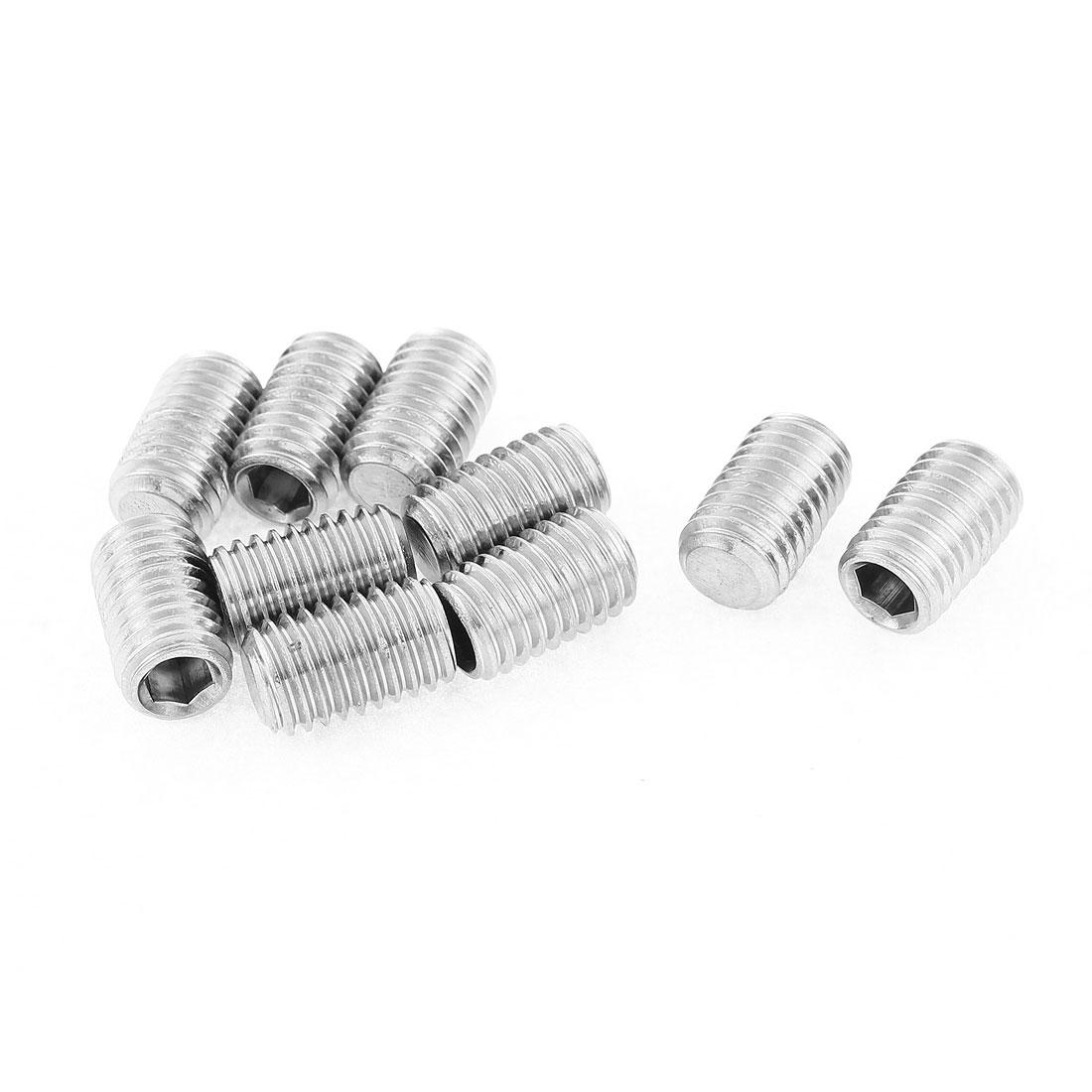 M10x16mm 1.5mm Pitch Stainless Steel Hex Socket Set Flat Point Grub Screws 10pcs
